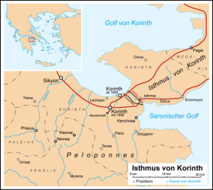 Korinth Isthmus / Karte: Wikipedia/User Fremantleboy