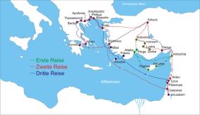 Missionsreisen des Paulus / Grafik: Wikipedia / User: Janz