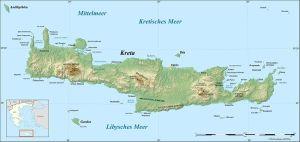 Kreta - Topographische karte / Quelle: Wikipedia/User: Frente