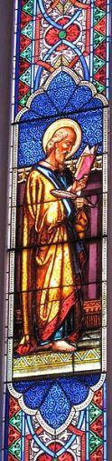 St. Luke Fenster von Henry E. Sharp & Sons (1872) in der St. Matthew's Lutheran Church in Charleston, South Carolina