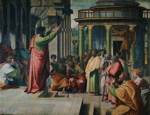 Paulus predigt in Athen * Foto eines Bildes von Raphael um 1515, Royal Collection of the United Kingdom, [Public domain], via Wikimedia Commons